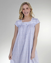 Eileen West Cotton Knit Cap Sleeve Nightgown in Twilight Ditsy