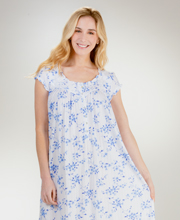 Eileen West Cotton Modal Nightgown - Waltz Cap Sleeve in Blue Corsage