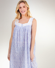 Eileen West Long Sleeveless Cotton Lawn Nightgown in Daisy Joy