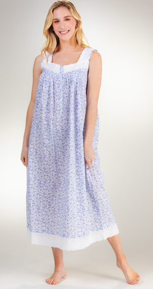 Eileen West Long Sleeveless 100/% Cotton Lawn Nightgown in Whimsy Floral