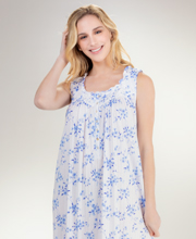 Eileen West Cotton Modal Ballet Nightgown - Sleeveless in Blue Corsage