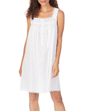 Eileen West Cotton Lawn Sleeveless Chemise in Sterling White