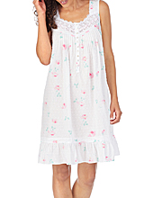 Eileen West Short Sleeveless 100% Cotton Swiss Dot Nightgown - Rose Charms