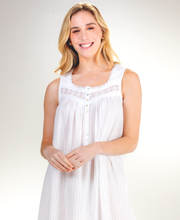 Eileen West Long Cotton Sleeveless Nightgown in White Dobby Stripe