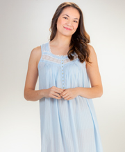 Eileen West Long Cotton Sleeveless Nightgown in Blue Dobby Stripe