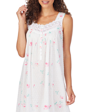 Eileen West Long Sleeveless 100% Cotton Swiss Dot Nightgown - Rose Charms