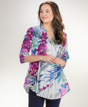 La Cera Tunic Blouse - 3/4 Sleeve 100% Cotton Top in Watercolor Dream