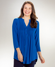 La Cera Pleated 3/4 Sleeve Rayon Blend Stretch Tunic Top - Royal Blue