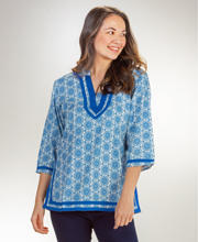 Woven Cotton Top 2/3 Sleeve La Cera Tunic - Merry Blue