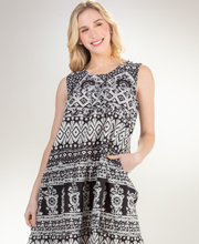 La Cera Dress - 100% Woven Cotton Sleeveless in Black Geo