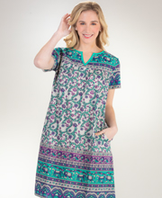 La Cera Cotton Dresses - Short Sleeve Muu Muu Dress in Lucky Teal