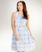 La Cera Cotton Small Sleeveless Short Gown - Blue on White Floral Twirl