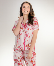 La Cera Cotton Pajamas in Magenta Blossoms Print