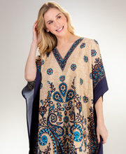 Cotton Kaftan Lounger - V-Neck Long Woven Cotton in Teal Paisley