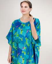 Cotton Caftan Lounger - One Size Woven Cotton in Aqua Harmony