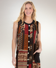 Button-Front Semi-Sheer Rayon Sleeveless Long Beach Dress in Tribal Art