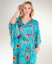 N Natori Long Poly Kaftan with Kimono Sleeves - Sanctuary Garden