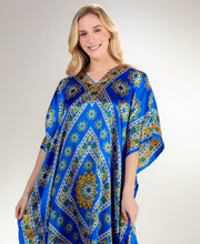 Sante Satin Caftans - One Size Lounger in Sapphire Starburst