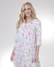 Miss Elaine Cottonessa Long Nightgown - Elbow Sleeve in Pink Blossoms