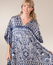 Women's Winlar Satin Charmeuse Kaftan For Loungewear or Beach Wear  - One Size - Grecian Isles