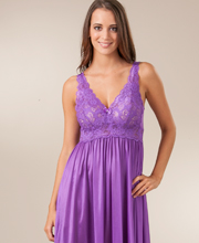 Shadowline Sleepwear - Sleeveless Long Silhouette Nightgown in Purple
