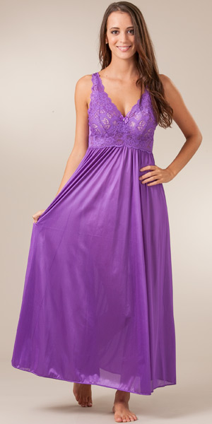 18a28590901a Shadowline Sleepwear - Sleeveless Long Silhouette Nightgown in Purple