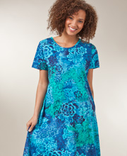La Cera Dresses - Cotton Knit A-Line Blue Dress in Deep Lagoon