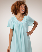 Shadowline Nightgowns - Petals Flutter Sleeves Long Night Gown in Seafoam