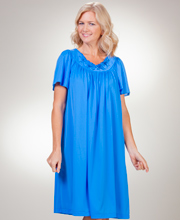 Sapphire Shadowline Petals Flutter Sleeves Night Gown in Waltz Length