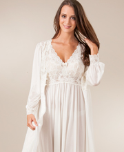 Shadowline Silhouette Long Nightgown Robe Peignoir Set - Ivory 711961820