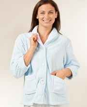 Angel Fleece Plus Size Ribbed Bed Jacket  - Light Blue