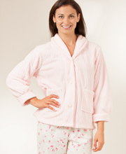 Angel Fleece Plus Size Ribbed Bed Jacket in Pink