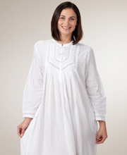 As Seen in Glamour Long Sleeve White Cotton Nightgown by La Cera 55016cfae