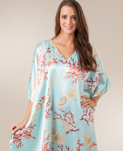 Beach Loungerwear - Kaftans Satin Charmeuse One Size in Seaglass