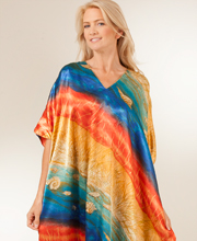 Stunning Caftans Satin Charmeuse - One Size Kaftans in Rainbow Seas