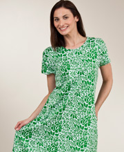 "La Cera ""Easy Fit"" Knit A-Line Dress - Green Floral"