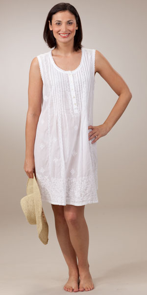 La Cera Embroidered Beach Coverup Sleeveless Semi Sheer In White