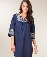 Embroidered Woven Cotton 2/3 Sleeve Caftan by La Cera - In The Navy