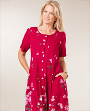 La Cera Dress Rayon Short Sleeve Button Front - Merlot Garden