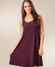 A-Line Plus Size Sleeveless Dress by Ellen Parker in Wine