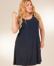 A-Line Style Sleeveless Plus Size Dress by Ellen Parker in Navy