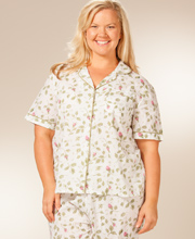 Plus Size Pajamas -  La Cera Cotton Short Sleeve PJs - Blooming Vines