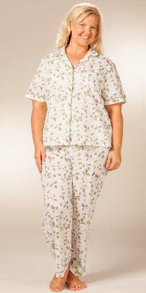 674f2bf9cf002 Plus Size Pajamas - La Cera Cotton Short Sleeve PJs - Blooming Vines