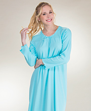 La Cera Knit Long Sleeve Ballet Nightgown - Sea Maiden