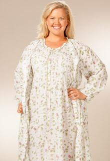 plus size la cera sleepwear blooming vines set - Flannel Nightgowns