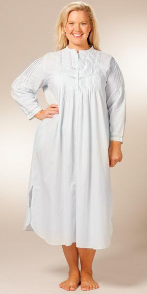 43bdc807f8 Plus La Cera Cotton Nightgown - Long Sleeve Pintucking Delight - Blue