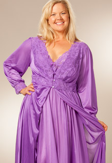 088e4684bd3f6 Plus Shadowline Silhouette Robe Gown Peignoir Set - Purple