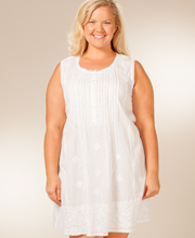 La Cera Plus Sleeveless Embroidered Semi-Sheer Beach Coverup in White