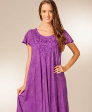 (D517)Advance Apparels Short Sleeve 100% Cotton Umbrella Dress - Purple Batik