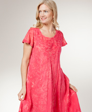 Cotton Umbrella Dress - Short Sleeve One Size Dress in Cherry Batik